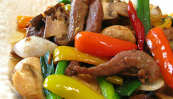 Chinese dish: Fried beef fillet with Button mushroom and color pepper