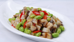 Chinese-flavor recipe: Braised chicken dices with Shiitake and green soy bean