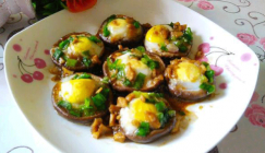 Scrumptious steamed Shiitakes filled with quail eggs