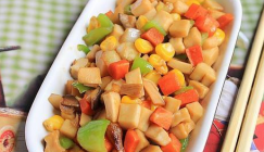 A great recipe for kids to make: Fried Eryngii mushroom with sweet corn and vegetables